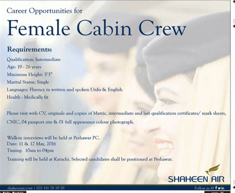 Hostess Job Resume by Shaheen Airline Cabin Crew Job May 2017 Advertisement