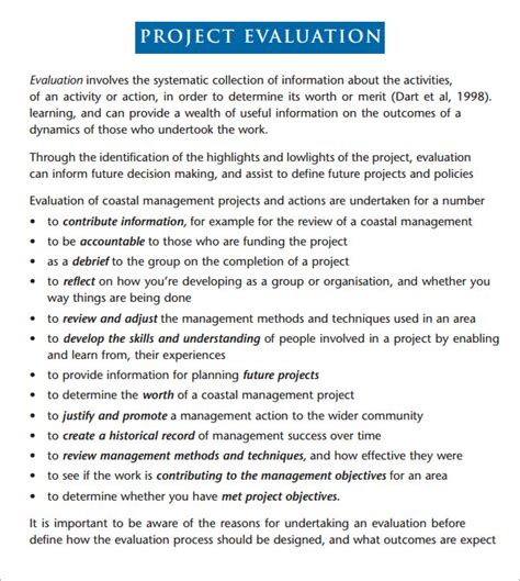 evaluation report template project evaluation 9 free documents in pdf