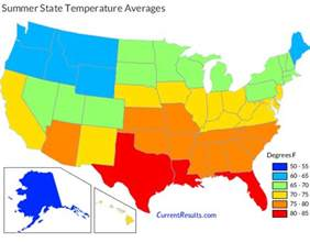 Temperature Map Of Usa by Summer Temperature Averages For Each Usa State Current