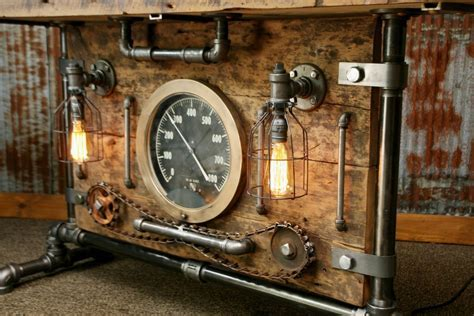 Steampunk Industrial Table, Lamp Stand, Console, Barn wood