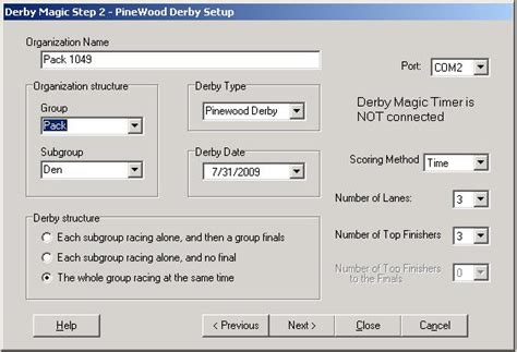 Pinewood Derby Race Spreadsheet by Www Derbymagic Race Manager Software