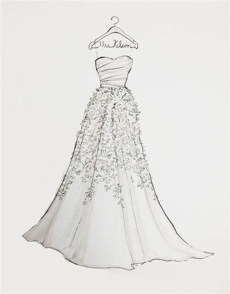 Drawing Dresses by Custom Wedding Dress Sketch Etsy Faves Dress Drawing