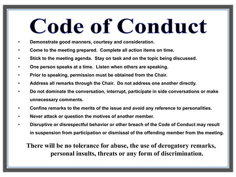code of conduct exle pin code of conduct on