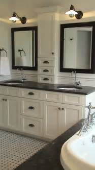 Master Bathroom Vanity Ideas by Storage Between The Sinks And Nothing On The Counter