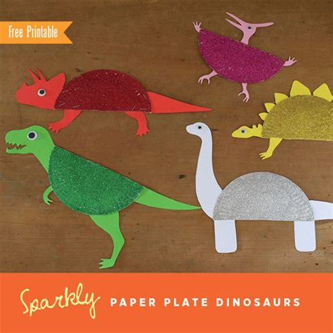 Paper Plate Dinosaur Craft - sparkly paper plate dinosaurs glitter for and