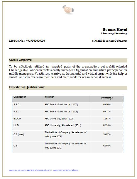 articleship resume format templates 10000 cv and resume sles with free