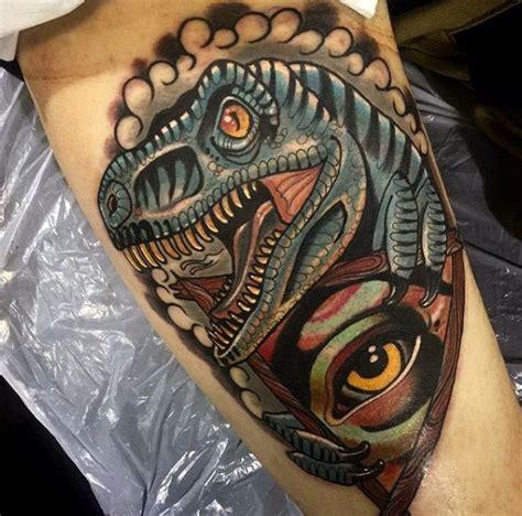 new school dinosaur tattoo new school illustrative style dinosaur with mystical eye