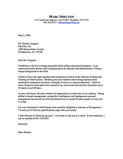 Sle Of A Cover Letter For Resume sales cover letter exles executive help now