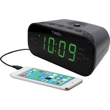 timex dual alarm clock am fm radio gunmetal walmart