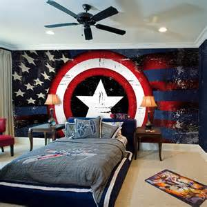 Awesome boys bedrooms design ideas with captain america wallpaper and
