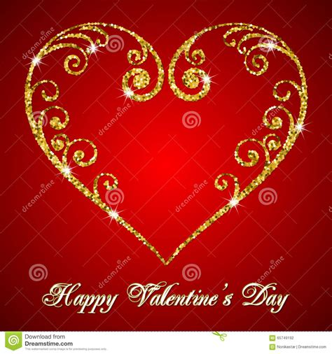 valentines day glitter text valentines day glitter card stock vector image 65749192