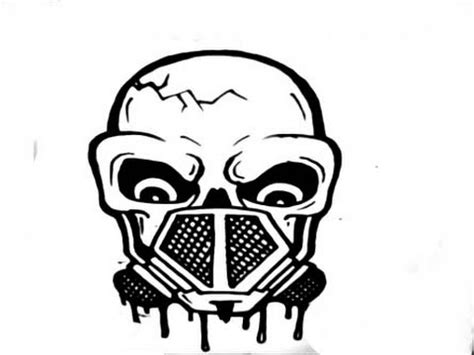 how to draw a skull with a gas mask step by step youtube