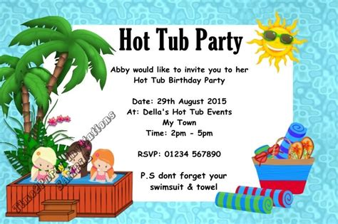 party in the bathtub personalised hot tub birthday party invitations pool