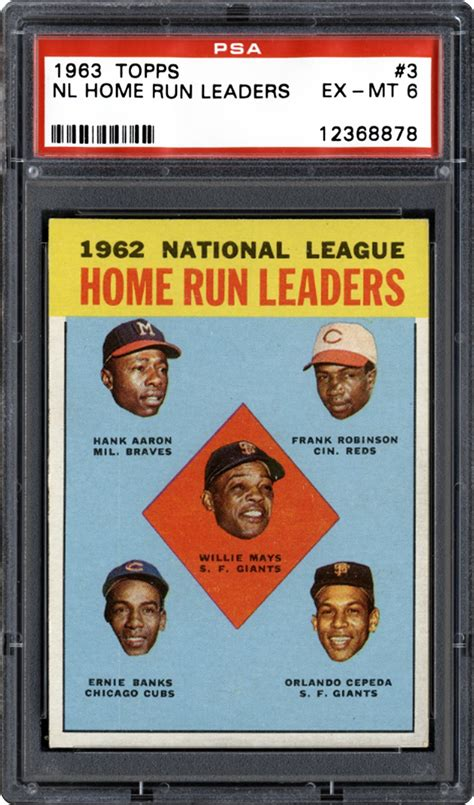 1963 topps nl home run leaders psa cardfacts