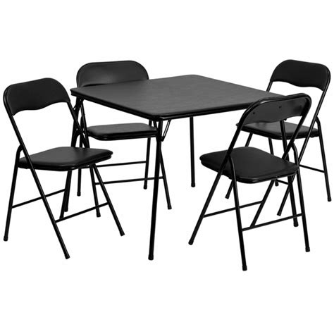 Folding Card Table And Chairs Black Folding Card Table Foldingchairs4less