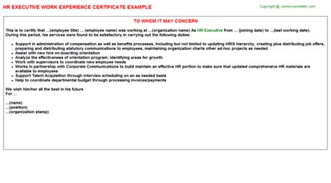 Experience Letter By Hr Hr Executive Work Experience Certificate