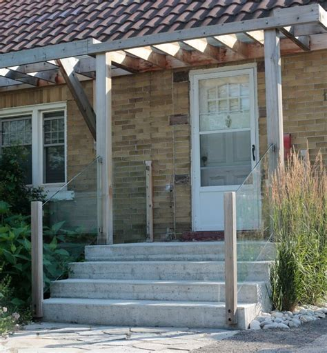 How To Build A Awning Over A Door Front Entry With Pergola And Glass Railing Contemporary