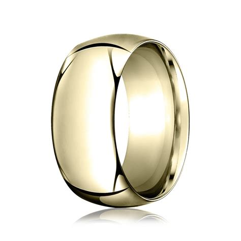 high dome 10mm wedding ring in 14k yellow gold