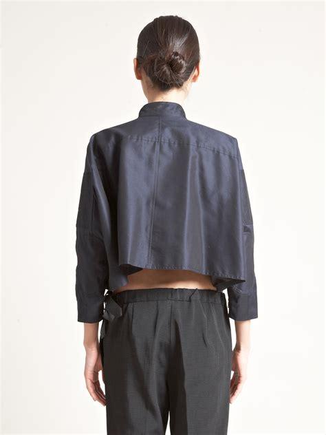 Jaket Crop Navy Jaket Hoodie Wanita Sweater Hoodie Diskon lyst dries noten womens box cropped jacket in black