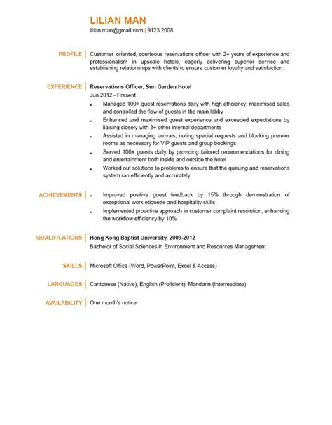 Reservation Officer Sle Resume by Reservations Officer Cv Ctgoodjobs Powered By Career Times