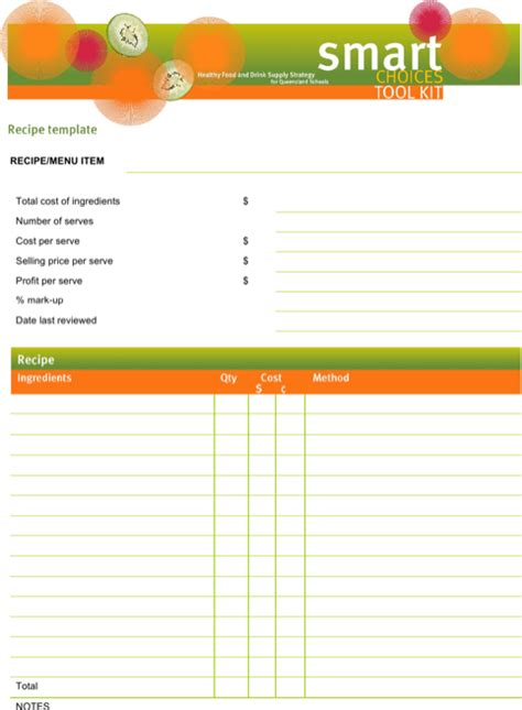 download word recipe templates for free formtemplate