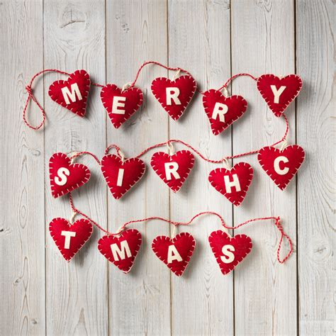 Hearts And Stars Kitchen Collection merry christmas string of felt hearts decoration