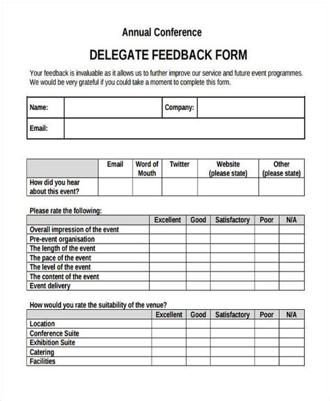 conference evaluation form in word sle conference feedback forms 9 free documents in