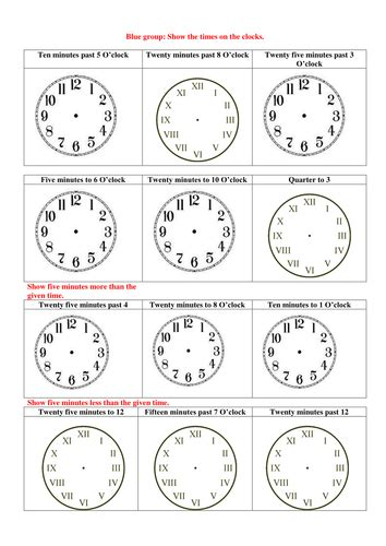 clock worksheet roman numerals analogue time numbers 1 12 and roman numerals by