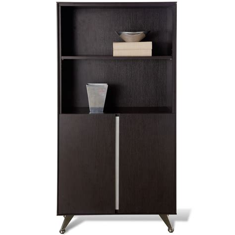 espresso bookcase with doors contemporary bookcase with doors espresso dcg stores
