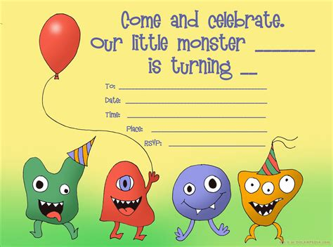 gimp templates birthday card monsters birthday invitation template free