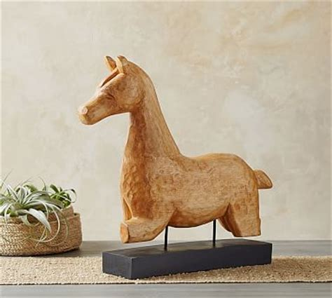 carved wood horse  stand pottery barn