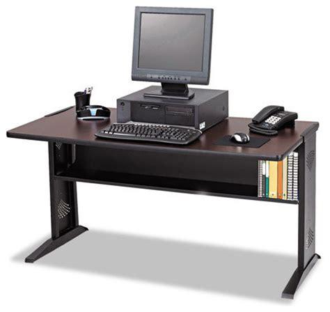 medium oak computer desk safco products computer desk with reversible top mahogany