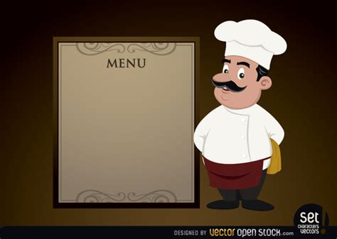menu template with chef free vector 123freevectors