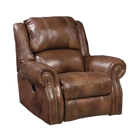 powered recliners leather ashley walworth leather power rocker recliner in auburn