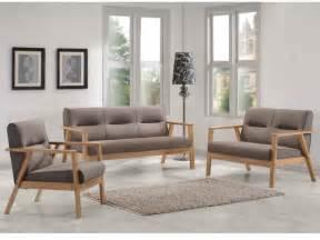 canap 233 s et fauteuil umea en bois et tissu taupe chin 233