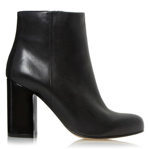 dune oxbury block heeled ankle boots in black lyst