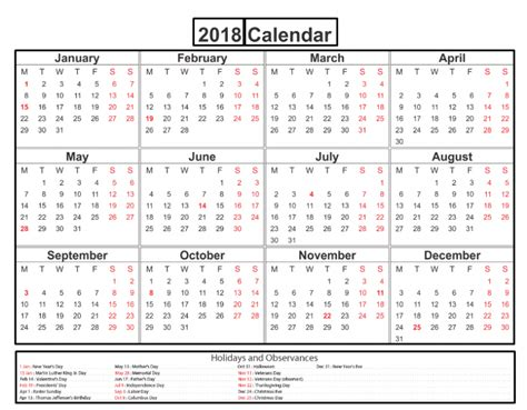Calendar 2018 With Holidays Usa Printable 2018 Calendar Printable Federal Bank Holidays Usa