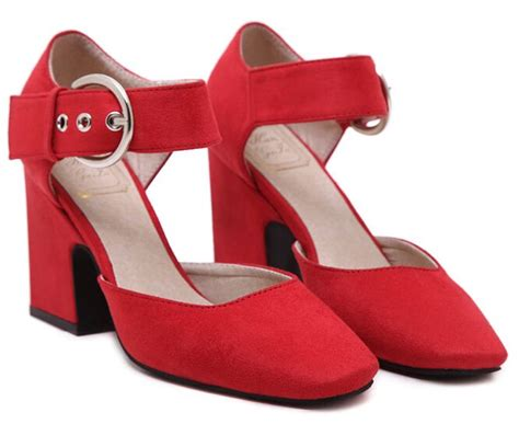 comfortable red pumps size 4 8 red square heel high heels women pumps