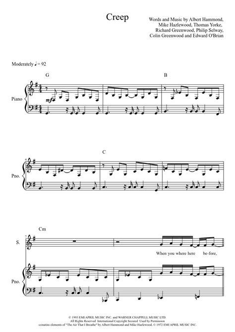 tutorial piano creep radiohead creep musescore noten pinterest