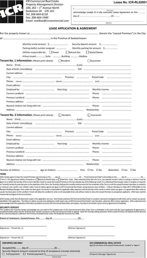 saskatchewan rental agreement template saskatchewan rent and lease template free