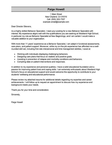 behavioral specialist consultant cover letter personal