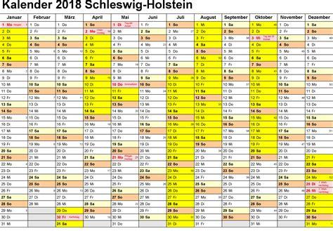 Kalender 2018 Ferien Kostenlos Kalender Schleswig Holstein 2018 Ausdrucken Ferien