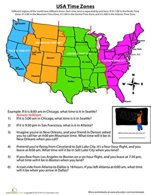 Time Zone Worksheet by Time Zone Map Worksheet Education