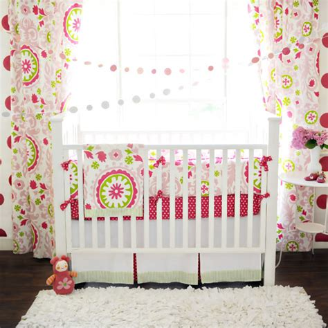 Pink And Green Crib Bumper by Strawberry Fields Baby Bedding