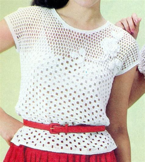 blusa vermelha de crochet crochet clothing pinterest patr 243 n para tejer blusa calada con flores a crochet bluz