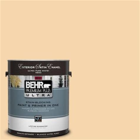 behr premium plus ultra 1 gal ppu6 8 pale honey satin enamel exterior paint 985001 the home