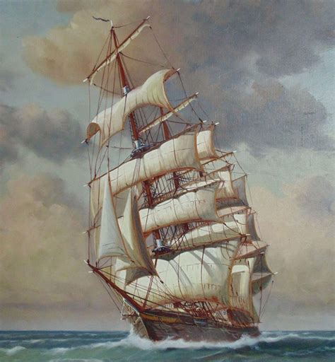 nautical painting large charles w morgan clipper tall sailing ship painting