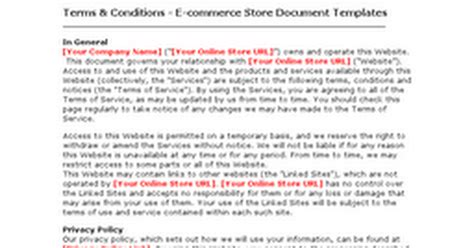 terms and conditions template for store terms condition ecommerce store document templates