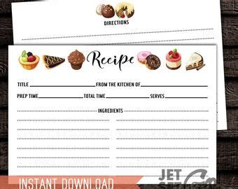 2 Sided Recipe Cards Etsy Sided Recipe Card Template