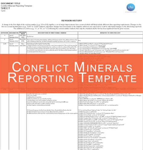 conflict minerals reporting template eicc conflict minerals template images templates design ideas